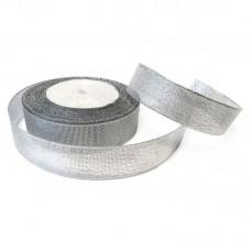 Лента из парчи цвет серебряный, 25 мм