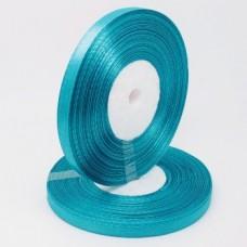 Атласная лента цвет голубой, 6 мм