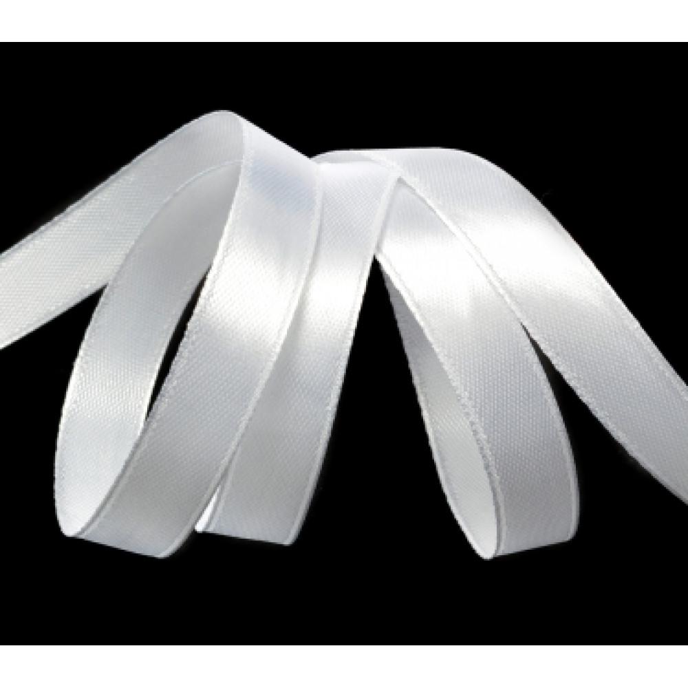 Атласная лента цвет белый, 12 мм
