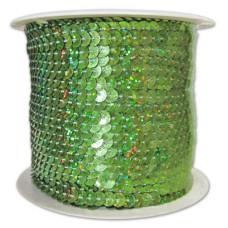 Пайетки на нитке в бобинах голографические, цвет светло-зеленый