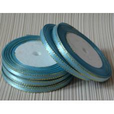 Атласная лента с золотым люрексом, цвет голубой, 6 мм