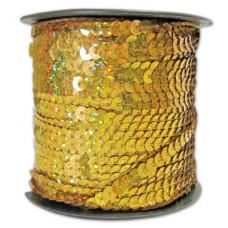 Пайетки на нитке в бобинах голографические, цвет золотой