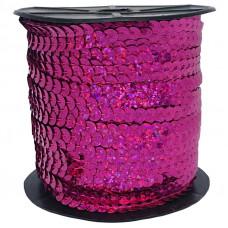 Пайетки на нитке в бобинах голографические, цвет малиновый