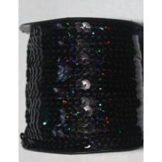 Пайетки на нитке в бобинах голографические, цвет черный
