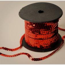 Пайетки на нитке в бобинах металлизированные, цвет темно-оранжевый