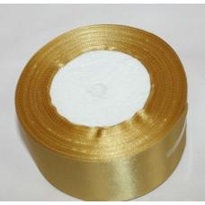 Атласная лента цвет золотой, 50 мм