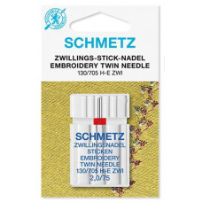 Двойная вышивальная игла Schmetz Twin Embroidery №75/2,0