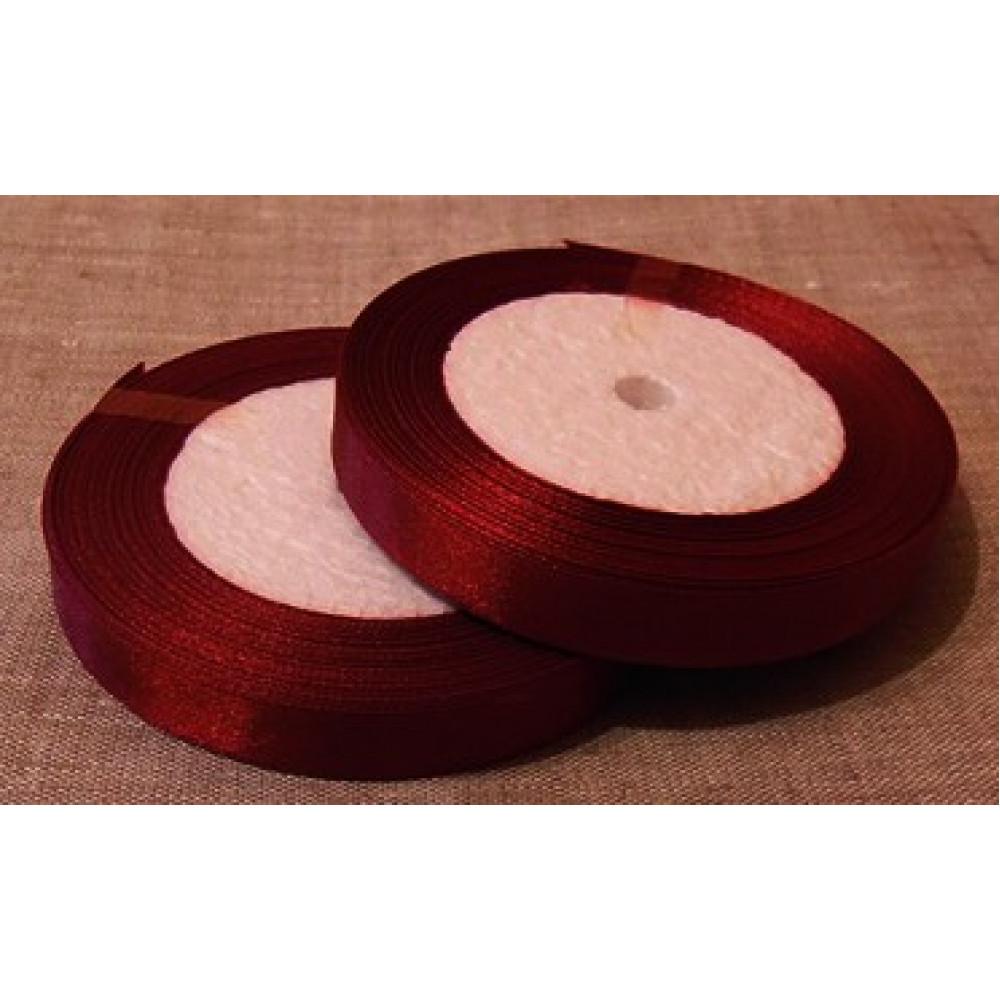 Атласная лента цвет бордовый, 12 мм