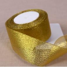 Лента из парчи цвет золотой, 50 мм