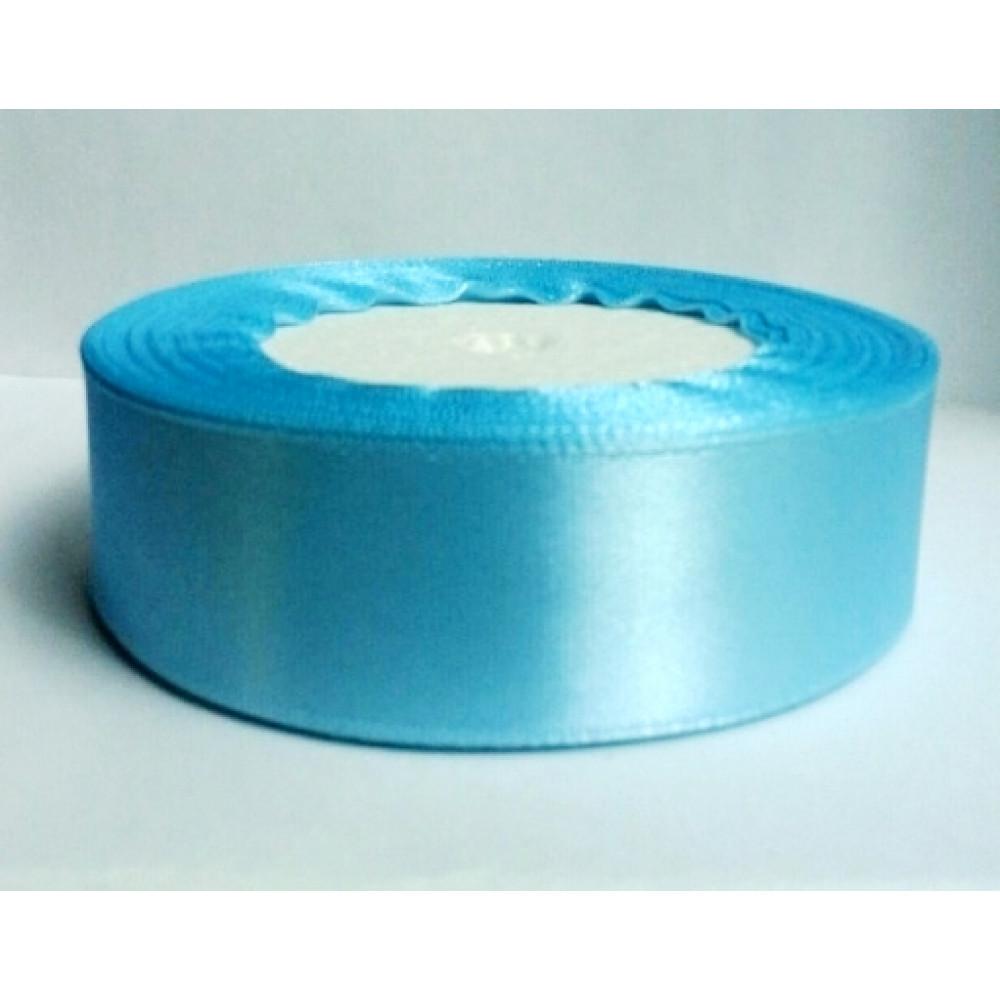 Атласная лента цвет голубой, 25 мм