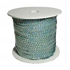 Пайетки на нитке в бобинах голографические, цвет аквамариновый