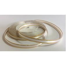 Атласная лента с золотым люрексом, цвет белый, 6 мм