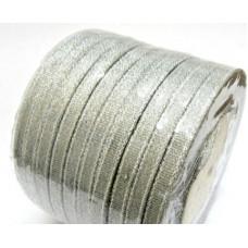 Лента из парчи цвет серебряный, 6 мм