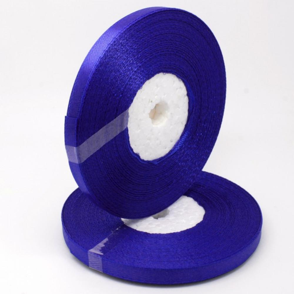 Атласная лента цвет синий, 6 мм