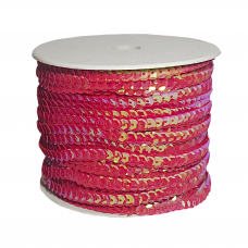 Пайетки на нитке в бобинах перламутровые, цвет красный