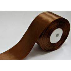 Атласная лента цвет коричневый, 50 мм