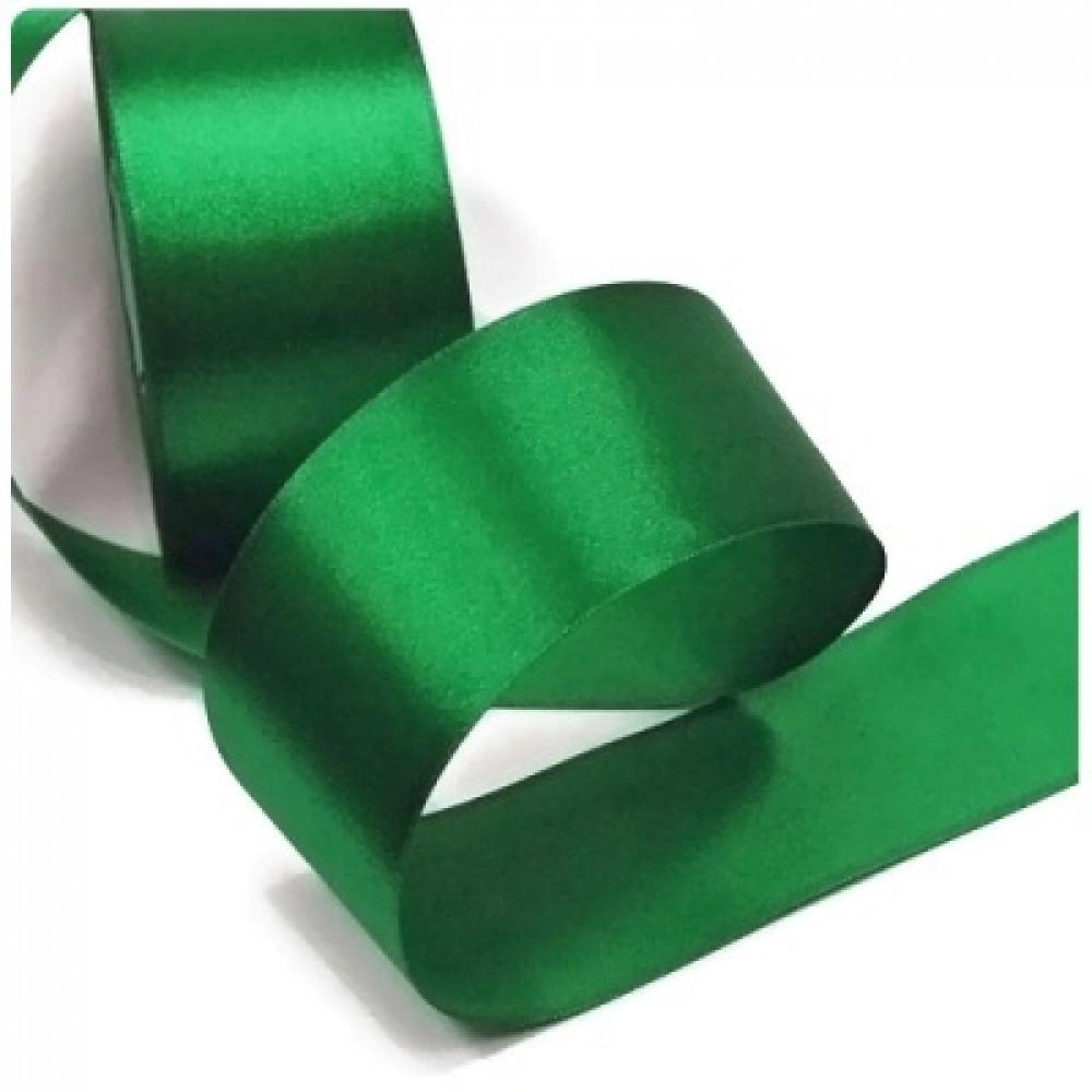 Атласная лента цвет темно-зеленый, 50 мм