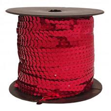Пайетки на нитке в бобинах металлизированные, цвет красный