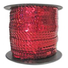 Пайетки на нитке в бобинах голографические, цвет красный