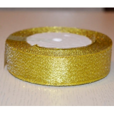 Лента из парчи цвет золотой, 25 мм