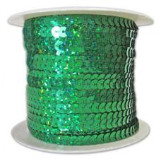 Пайетки на нитке в бобинах голографические, цвет зеленый травяной