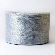 Лента из парчи цвет серебряный, 40 мм