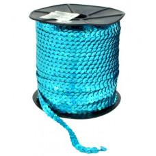 Пайетки на нитке в бобинах голографические, цвет светло-бирюзовый
