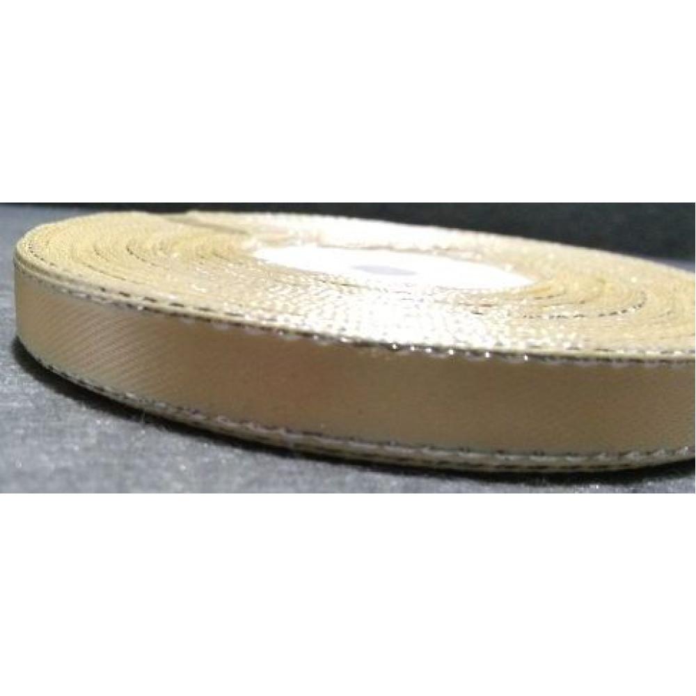 Атласная лента с золотым люрексом, цвет светло-бежевый, 6 мм
