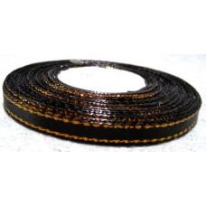 Атласная лента с золотым люрексом, цвет черный, 6 мм