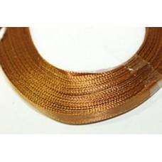 Атласная лента цвет золотисто-коричневый, 6 мм