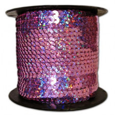 Пайетки на нитке в бобинах голографические, цвет темно-сиреневый