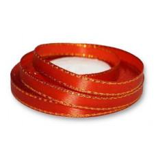 Атласная лента с золотым люрексом, цвет красный, 6 мм
