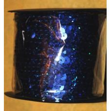 Пайетки на нитке в бобинах голографические, цвет темно-синий